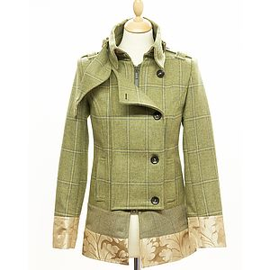 Tweed Military Jacket With Brocade Trim