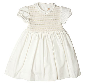 Embroided Smocked Dress - christeningwear
