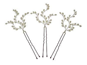 Set Of Three Branched Pearl Hairpins
