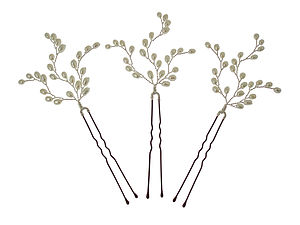 Set Of Three Branched Pearl Hairpins - wedding fashion