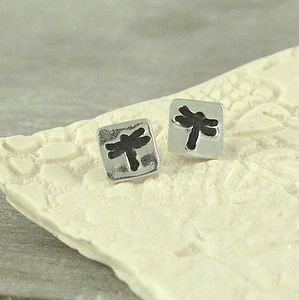 Dragonfly Handmade Silver Stud Earrings