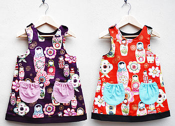 Girls Russian Doll Dress With Gold Print