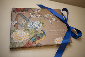 Personalised Chinnoiserie Print Guest Book - wedding day tokens