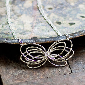 Butterfly Necklace In Silver And Gold - women's jewellery