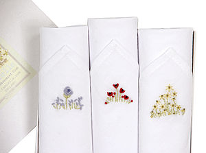 Box Of Three Flowers Handkerchiefs - women's accessories