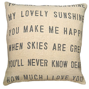 You Are My Sunshine Linen Cushion