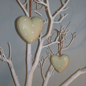 Pale Green Spotted Wooden Heart - decorations