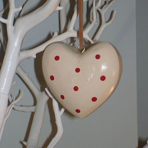 Cream Spotted Wooden Heart