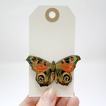 Clara Wooden Butterfly Brooch