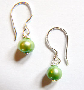 Green Drop Freshwater Pearl Earrings - women's jewellery