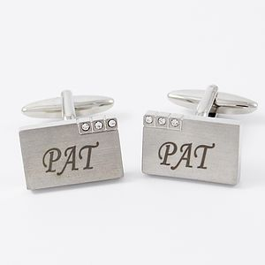 Personalised Diamond Design Cufflinks - men's accessories