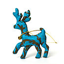 Hand Printed Silk Baby Reindeer Decoration Turquoise