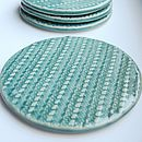 Set Of Four Knitted Pattern Ceramic Coasters