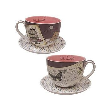 'Hello Beautiful' Vintage Tea Cup And Saucer