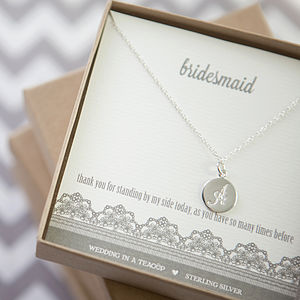 Bridesmaid's Initial Sterling Silver Necklace - wedding thank you gifts