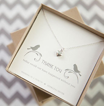 'Thank You' Heart Sterling Silver Necklace