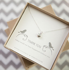 'Thank You' Heart Sterling Silver Necklace - flower girl jewellery