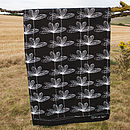 Black Etched Floral Tea Towel