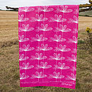 Pink Etched Floral Tea Towel