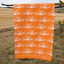 Orange Etched Floral Tea Towel