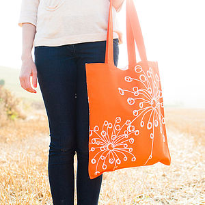 Orange Quirky Motifs Canvas Bag