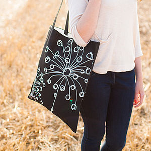 B&W Quirky Motifs Canvas Bag - winter sale