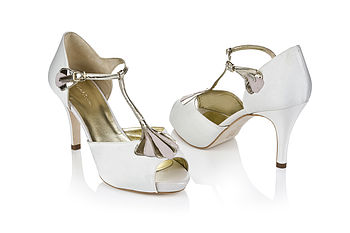 Carmen Satin T Bar Platform Shoes