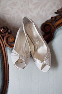Eva Low Heeled Leather Wedding Shoes