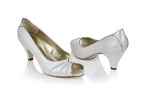 Flo Ivory Leather Peep Toe Wedding Shoes - bridal shoes