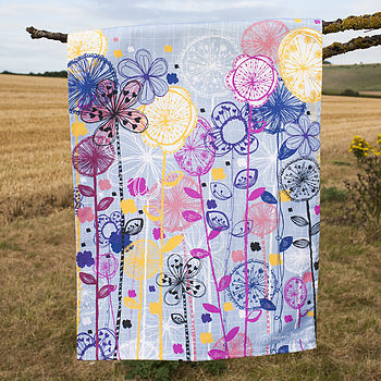 Quirky Floral Stems Tea Towel