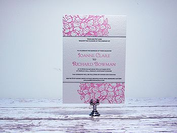 Hydrangea Letterpress Wedding Invitation
