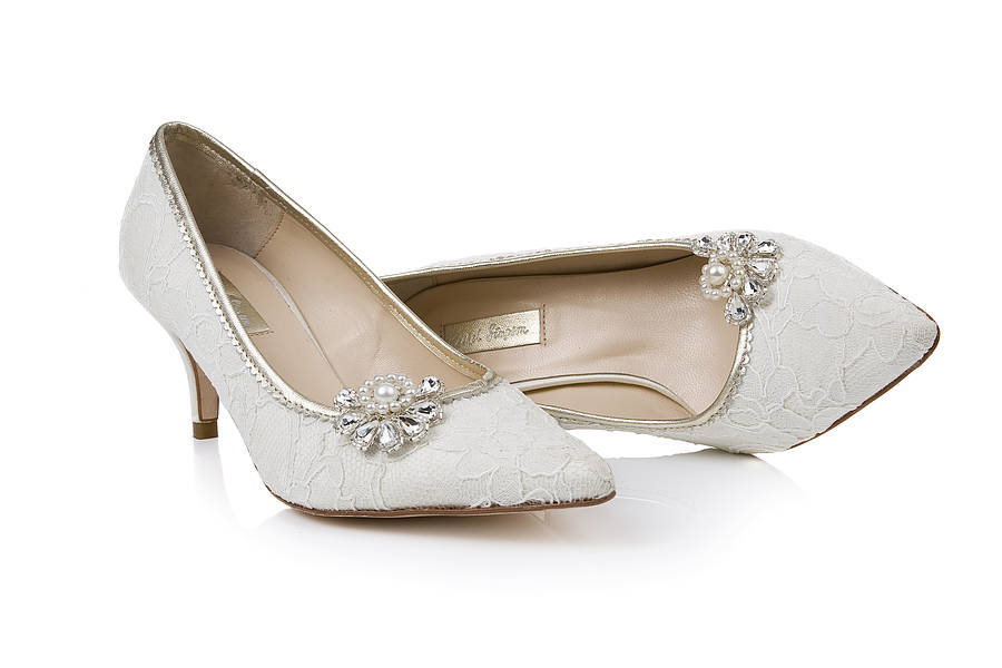 No Heel Wedding Shoes: Chloe Lace Kitten Heel Shoes By Rachel Simpson