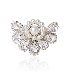 Art Deco Diamante & Pearl Shoe Clips - pins & brooches