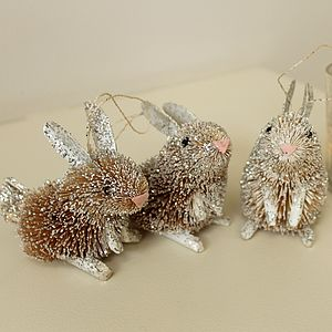 Brush Rabbit Or Mouse Easter Hanging Decoration - decorative accessories