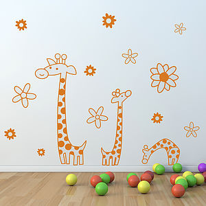Children's Giraffe Wall Sticker Set - home decorating