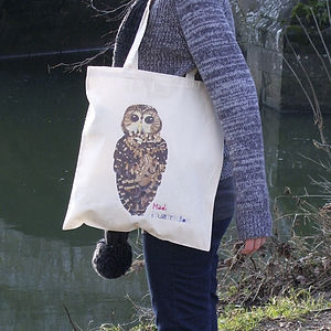 Illustrated Owl Cotton Tote Bag - shopper bags
