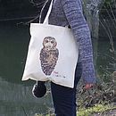 Illustrated Owl Cotton Tote Bag