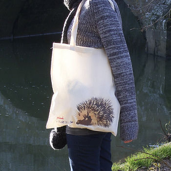 Illustrated Hedgehog Cotton Tote Bag