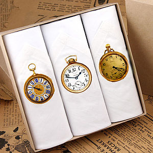 Box Of Three Men's Clock Hankies