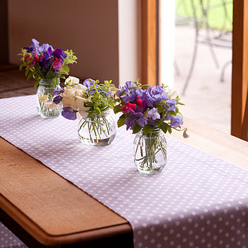 Lavender Polka Dot Table Runner