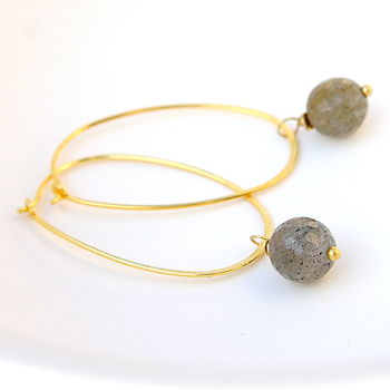 Labradorite And Gold Oval Hoops