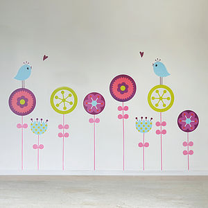 Flowers And Birds Children's Wall Sticker - pictures, prints & paintings