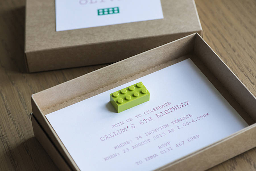 eight building block boxed party invitations by twenty ...