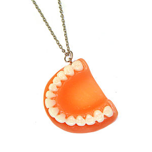 False Teeth Pendant Necklace - necklaces & pendants