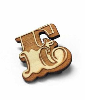 Wooden Letter Brooch