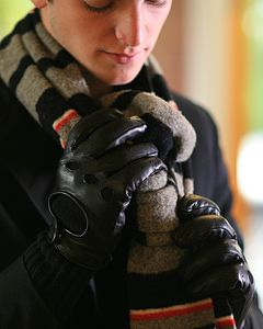 Magnus. Men's Cashmere Leather Driving Gloves