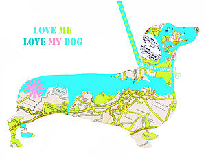 Personalised Dachshund Map Dog Print