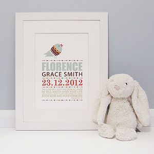 Personalised Christening Print - children's room