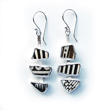 Pottery Shard And Silver Mosaic Earrings