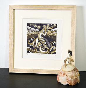 Zennor Mermaid Relief Or Letterpress Print - pictures, prints & paintings